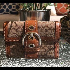 Coach Brown Canvas Compact Wallet